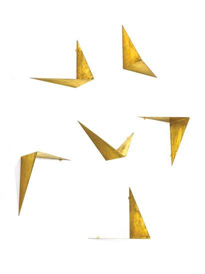 POUL CADOVIUS (1911-2011) Bibliothèque 12 modules modèle «Butterfly» Laiton doré...