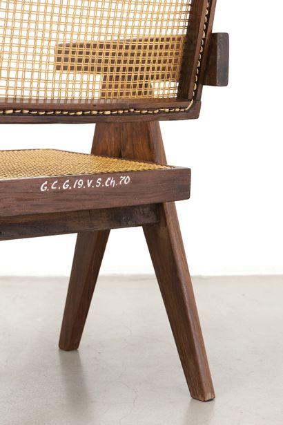Pierre JEANNERET (1896-1964) Ensemble de 4 fauteuils dits «Office chair» Teck et...