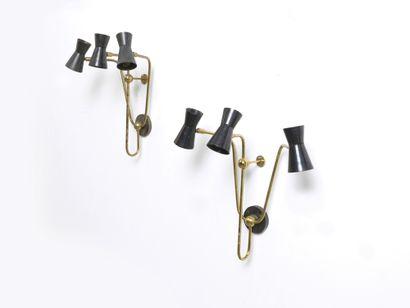 MARCEL ASSELBUR (XXE SIÈCLE) Paire d'appliques Laiton et métal laqué Gilt brass and...