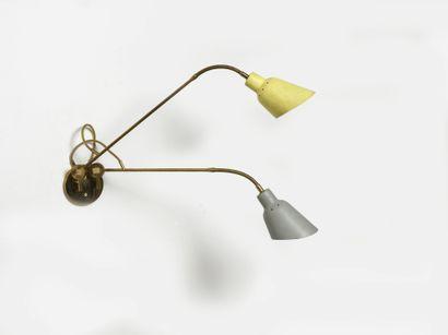Angelo LELII (1911-1979) Applique Laiton poli et aluminium laqué Polished brass and...