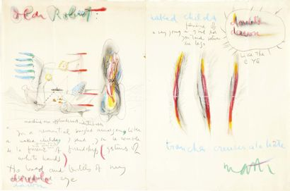 """Roberto Matta. Letter illustrated with color drawings addressed to """"Dear Robert""""...."""