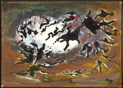 HENRI MICHAUX. Sans titre. [1975-1976 ]. Huile et encre de Chine sur carton (23,7...