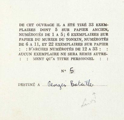 [Georges BATAILLE et Michel LEIRIS, éditeurs]. Colette PEIGNOT alias LAURE.