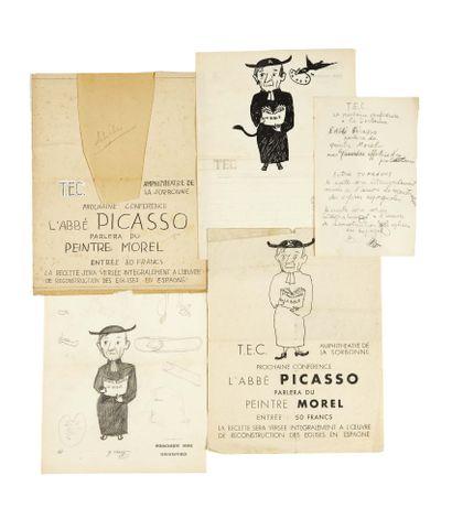 [PICASSO]. T.E.C. Amphithéâtre de la Sorbonne. Prochaine conférence. L'Abbé Picasso...