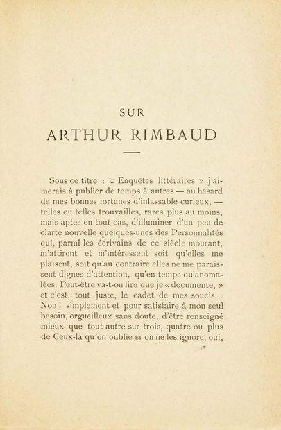 Arthur RIMBAUD. Reliquaire. Poésies. Préface de Rodolphe Darzens. Paris, L. Genonceaux,...