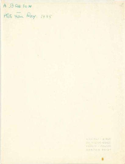 MAN RAY. Portrait d'André Breton. Sans lieu ni date [1935]. Photographie originale,...