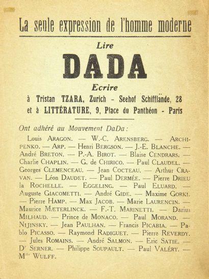 [DADA]. La Seule Expression de l'homme moderne. Lire Dada. Sans lieu ni date [janvier...