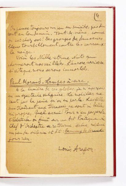 Louis ARAGON. Livres choisis. Sans lieu ni date [Paris, fin 1919-début 1920]. Manuscrit...