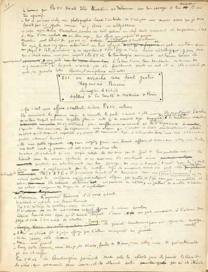 Benjamin PÉRET. Collection of three autograph manuscripts: Il était une boulangère......