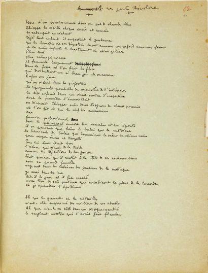 Benjamin PÉRET. Neuf poèmes autographes du recueil Je ne mange pas de ce pain-là....