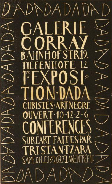 [DADA] AFFICHE. 1re Exposition Dada. Cubistes. Art nègre. Ouvert 10-12, 2-6. Conférences...