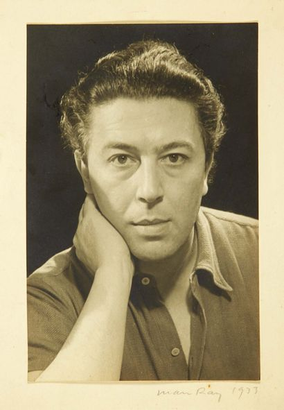 MAN RAY. Portrait of André Breton. 1933. Original photograph signed and dated on...