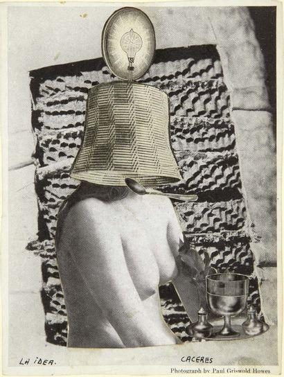 Jorge CACERES. La Idea. Sans lieu ni date. Collage original signé (138 x 106 mm)...