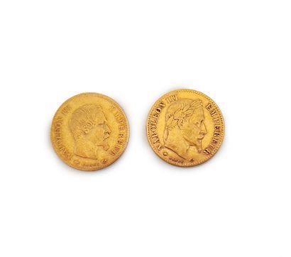 2 pièces de 10 francs or Napoléon III à l'éffigie...