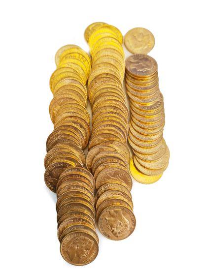 Lot de 97 pièces de 20 francs or aux effigies...
