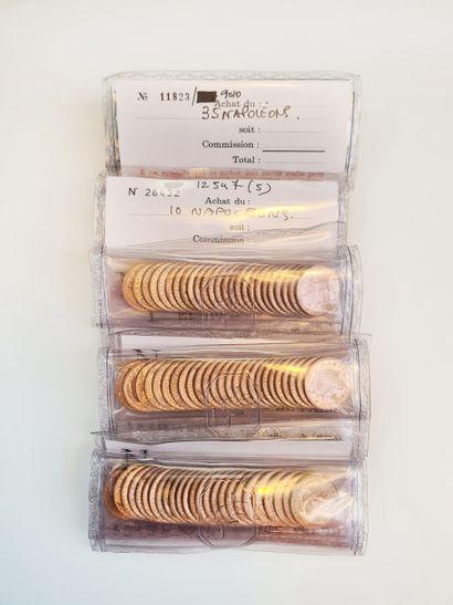 Lot de 100 pièces de 20 francs or sous blister....