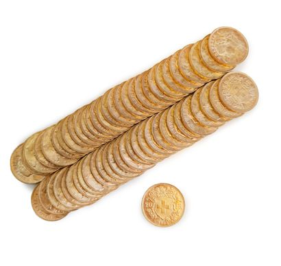 Lot de 60 pièces de 20 fr Suisse.  Poids total : 386,24 g.