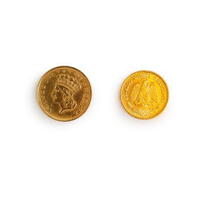 Lot comprenant 1 pièce de 2 pesos or et une pièce de 1 dollar or (1857)  Poids total...