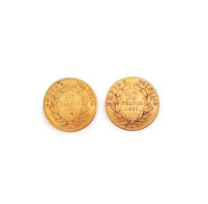 2 pièces de 10 francs or Napoléon III à l'éffigie de Napoléon III.  Poids total...