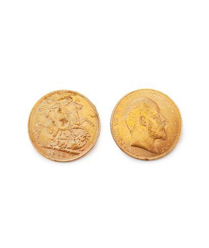 2 souverains à l'effigie d'Edouard VII.  Poids...