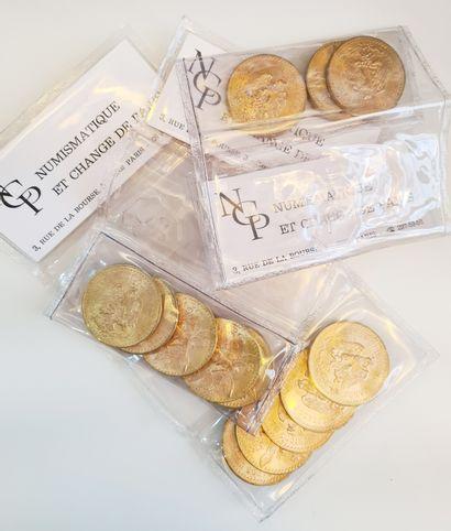 13 pièces de 50 pesos or sous blister.  Poids...