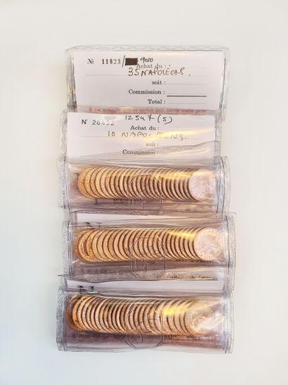 Lot de 120 pièces de 20 francs or sous blister....