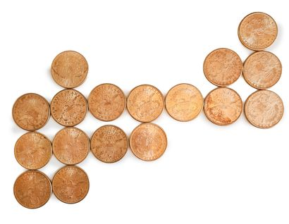 Lot de 17 pièces de 20 dollars or.  Années :  1873 x 1 ; 1874 x 2 ; 1876 x 1 ; 1877...