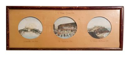 Views of Granvilles Lots of two framed pieces One comprising three gouaches representing...