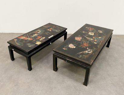 CHINE 2 Tables basses En bois laqué noir...