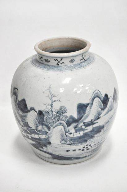 Pot balustre en porcelaine bleu blanc à décor...