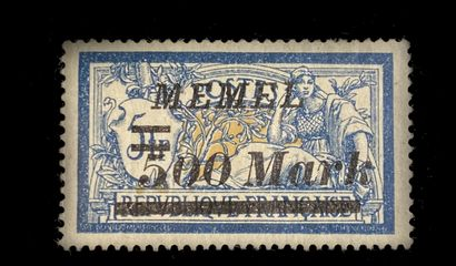 MEMEL Issue 1923 : NOT ISSUED 500 Mr on 5F blue MERSON (issue 150)    Exhibition...