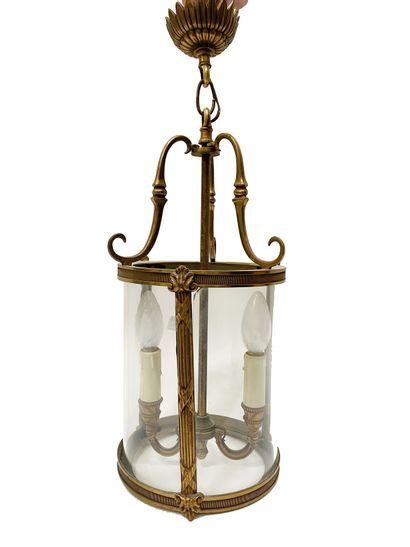 Lanterne En laiton doré et verre H_53 cm