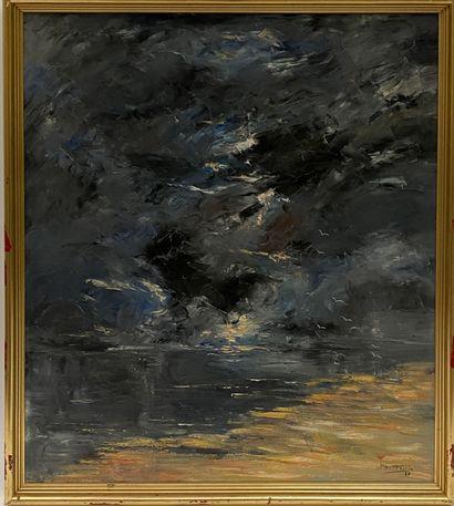 Mont cassin Le soir  Huile sur toile  H_73...