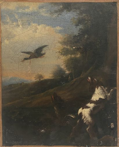 After Desportes The Hunting Dogs Oil on rough canvas 18th century  H_32 cm W_24...