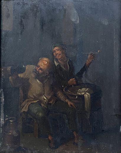 Ecole du Nord, XVIIIe siècle Les fumeurs...