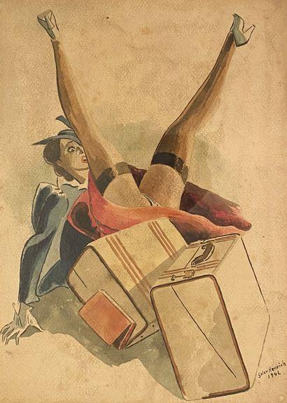 SOLER HENRICH La voyageuse, 1942 Aquarelle...