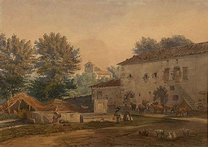 ECOLE FRANCAISE XIXe siècle Cour de ferme...