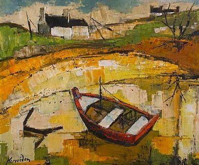 Kerouédan Paysage à la barque Huile sur panneau signée en bas à gauche H_45 cm L_54...