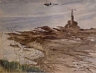 Lot des trois compositions représentant une vue du port de la Vallette, une vue...