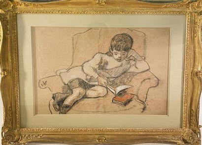 D'APRES VALTAT Enfant lisant Pastel sur papier...