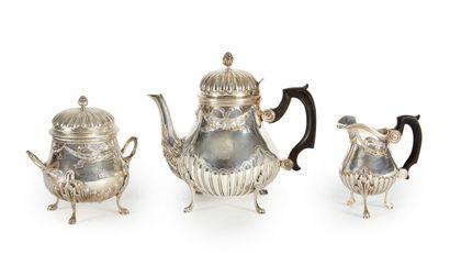 Service à thé en argent comprenant une thélière...