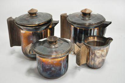 Service à café en métal argenté et bois,...