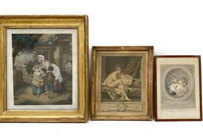 Ensemble de 6 gravures du XVIIIe siècle comprenant le baiser amoureux d'après Fragonard,...