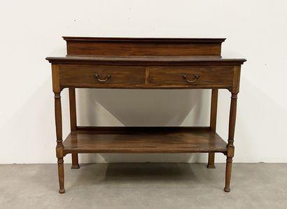 Console en bois teinté ouvrant à deux tiroirs,...