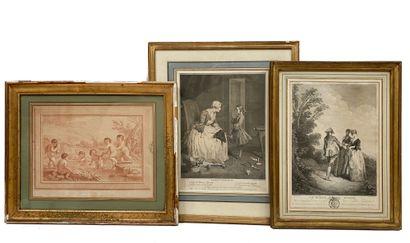 Ensemble de 6 gravures du XVIIIe siècle comprenant...