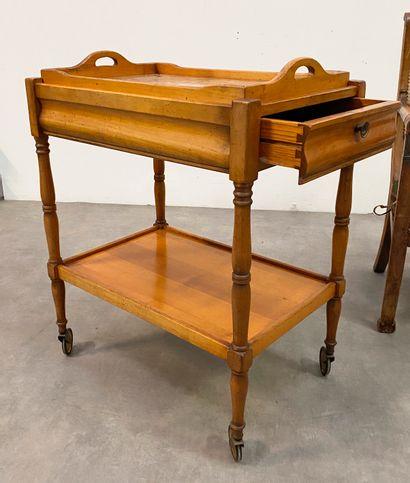 Table roulante en bois naturel H_80 m L_63,5...