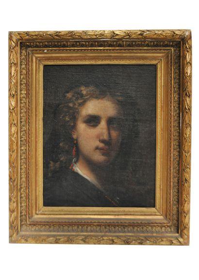 Ecole du XIXe siècle Portrait de femme Huile...