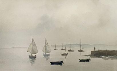 Lot de six pièces encadrées comprenant une vue du golfe du Morbihan par Raoul Decker,...