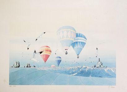 L. Remi Les montgolfières et les mouettes Lot de deux lithographies signées en bas...