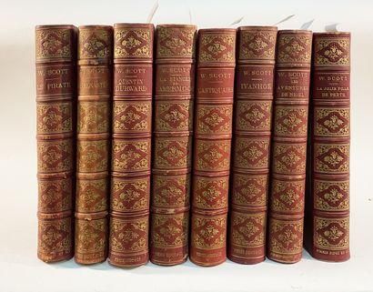 Walter Scott, Ensemble de 8 vol. Edition Firmin Didot illustrée (Ivanhoé, Quentin...